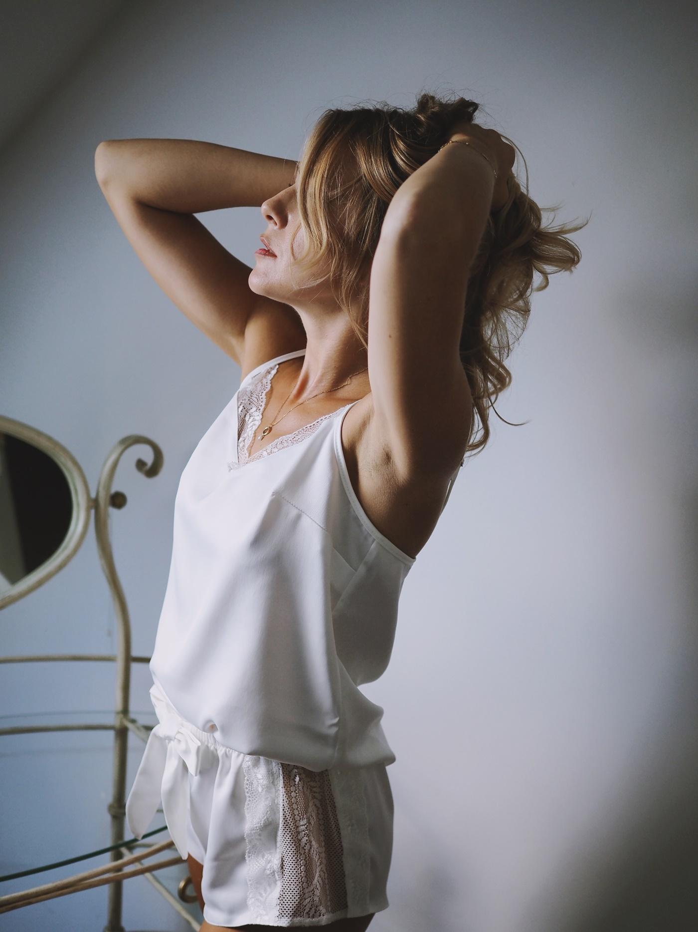 piżama satynowa z koronką