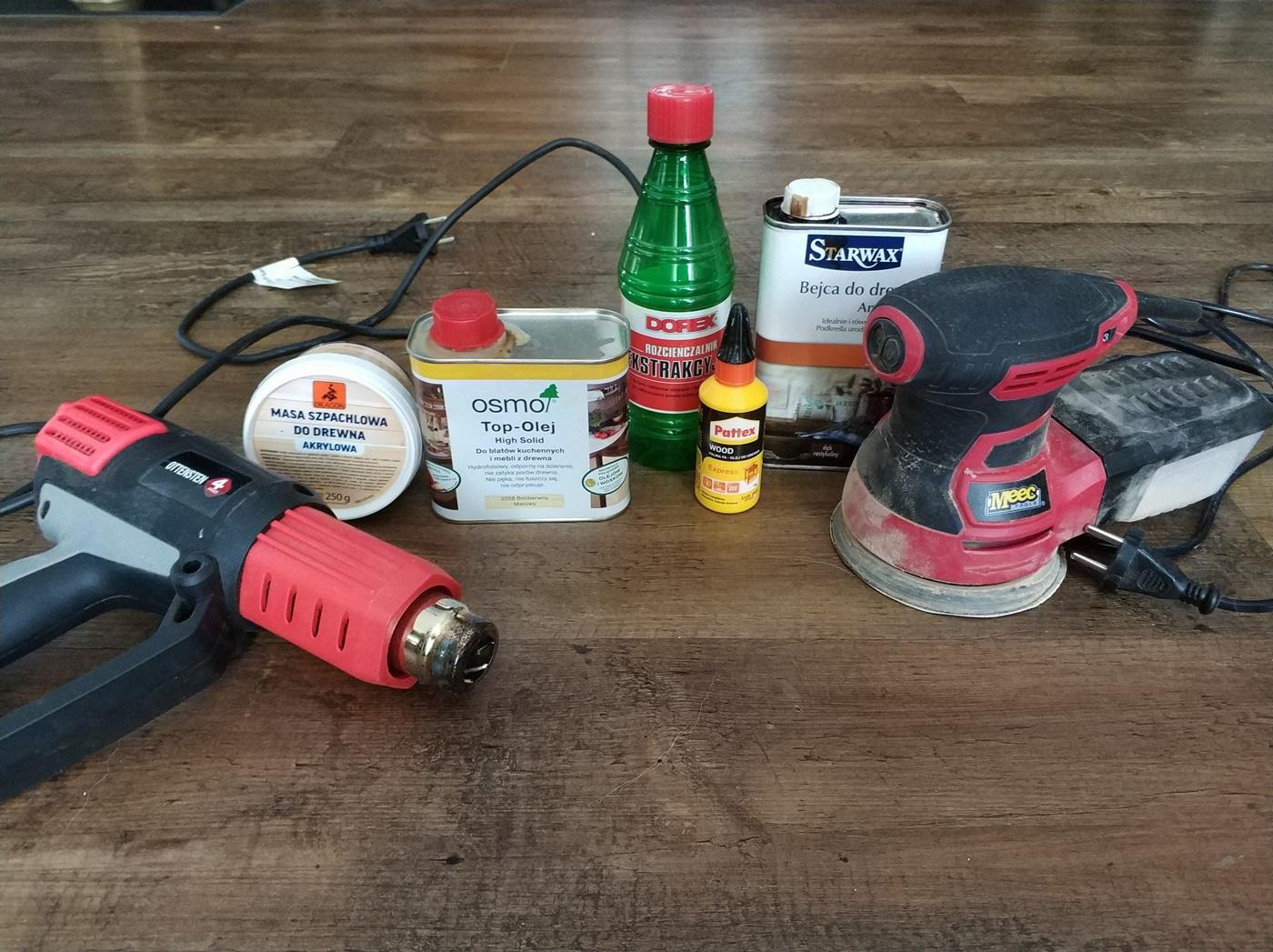 narzędzia i produkty do odnawiania mebli