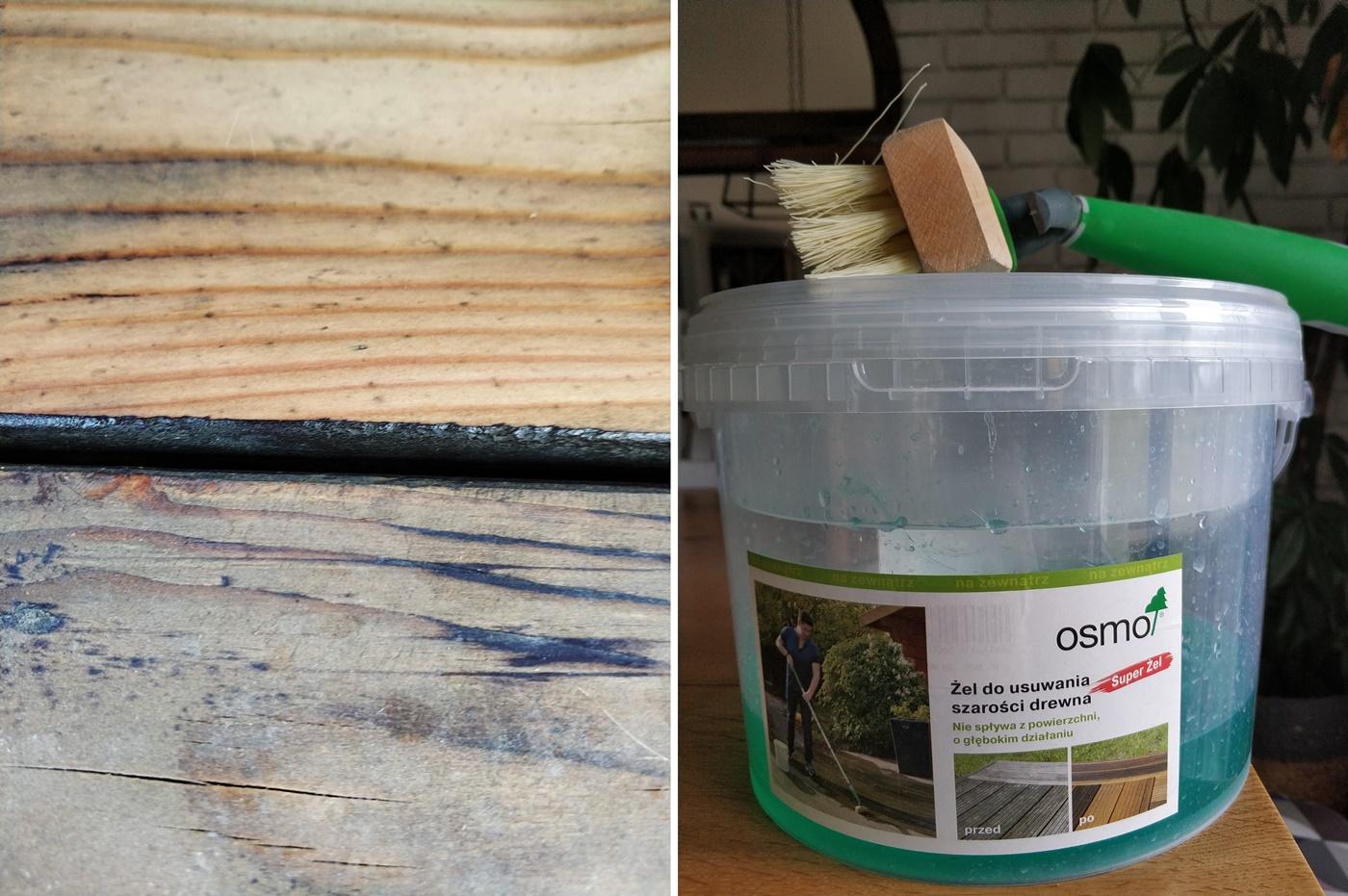 żel do usuwania szarości z drewna osmo